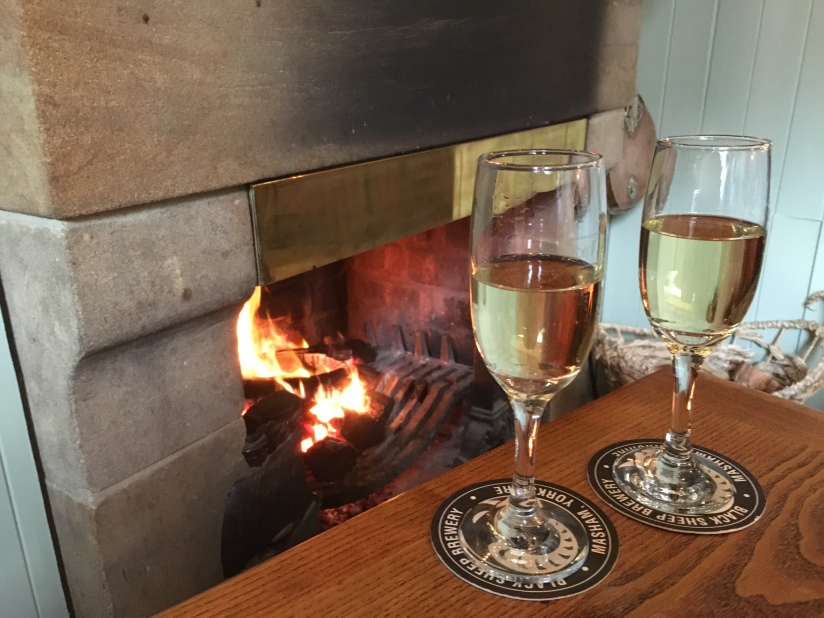 Prosecco by the fire